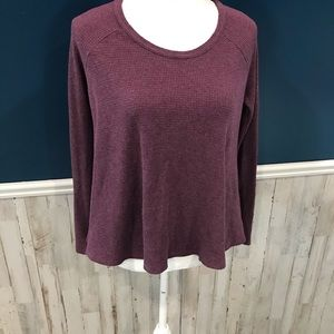 FP We The Free Purple Waffle Knit Thermal Shirt